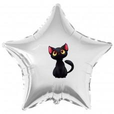 """Наклейка кольорова чорне кошеня на кулю 18 """"(45см)"""