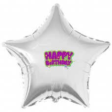 "Наклейка цветная Happy Birthday фиолетовым на шар 18"" (45см)"