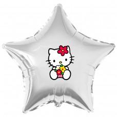 """Наклейка кольорова Кітті з квітами на кулю 18 """"(45см)"""