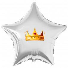 """Наклейка цветная золотая корона на шар 18"""" (45см)"""