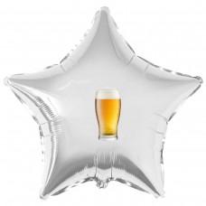 """Наклейка цветная бокал пива на шар 18"""" (45см)"""