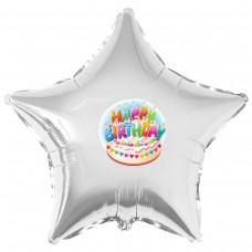 "Наклейка цветная Happy Birthday торт на шар 18"" (45см)"