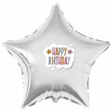 """Наклейка кольороваHappy Birthday в хмарці на кулю 18 """"(45см)"""