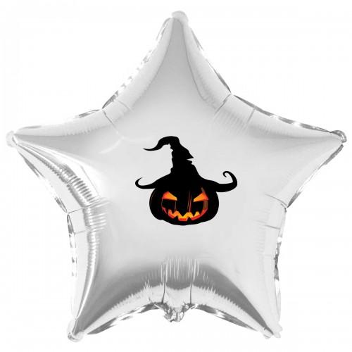 """Наклейка цветная Хэллоуин тыква в шляпе на шар 18"""" (45см)"""