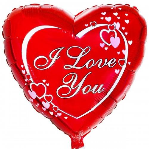 """18"""" ily сердца на красном фоне (fm)"""