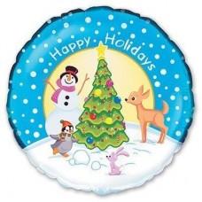 """18"""" (45см) НГ снеговик у елки (fm)"""