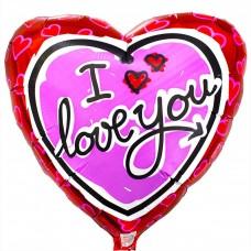 """18"""" (45см) ily серце рожеве на червоному / fm"""