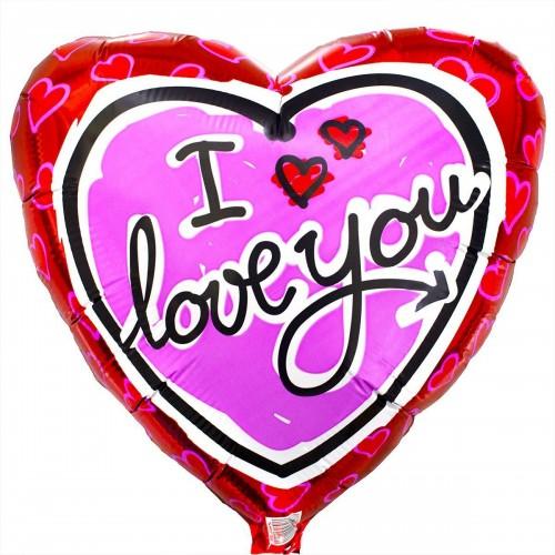 """18"""" (45см) ily сердце розовое на красном/fm"""