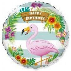 """18"""" (45см ) Шар фольгированный hb фламинго тропический /fm"""
