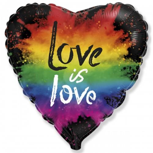 "18"" (45см ) сердце фольгированное Love is love (fm Испания)"