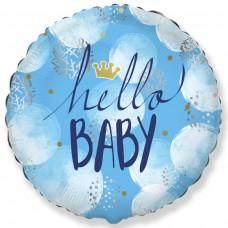 """18"""" (45см ) круг фольгированный Hello Baby мальчик (fm Испания)"""