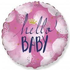 """18"""" (45см ) круг фольгированный Hello Baby девочка (fm Испания)"""