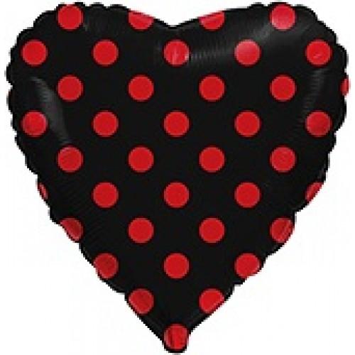 """18"""" (45см ) сердце фольгированное черное полька (fm Испания)"""