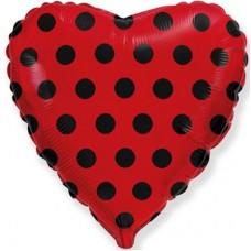 """18 """"(45 см) Серце червоне в чорний горох (fm Іспанія)"""