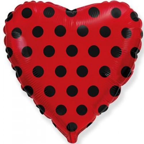 """18"""" (45 см) Сердце красное в черный горох (fm Испания)"""