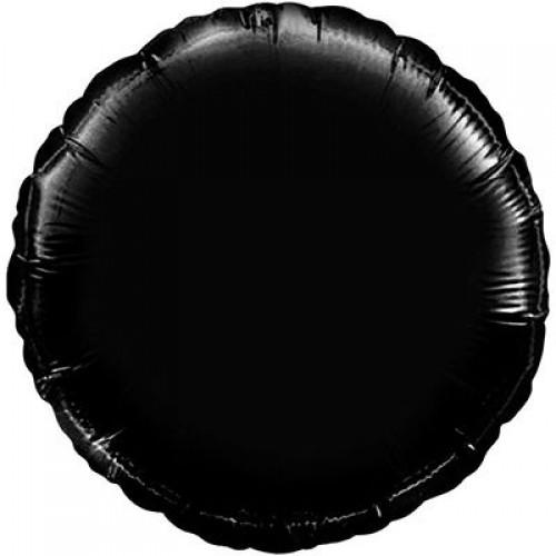 """18"""" (45см) фольгированный шар КРУГ пастель черный (FM Испания)"""