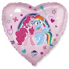 """18"""" (45см ) сердце фольгированное пони в объятиях (fm Испания)"""