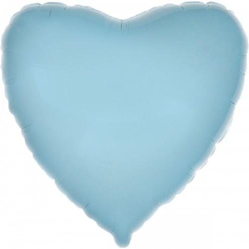 """18"""" (45см) фольгированный шар СЕРДЦЕ пастель голубое (FM Испания)"""