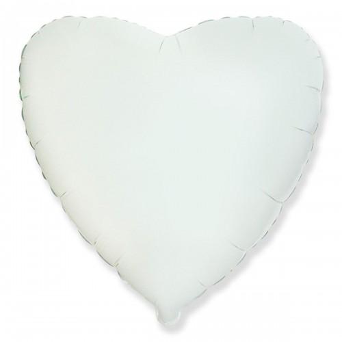 """18"""" (45см) сердце пастель белое"""