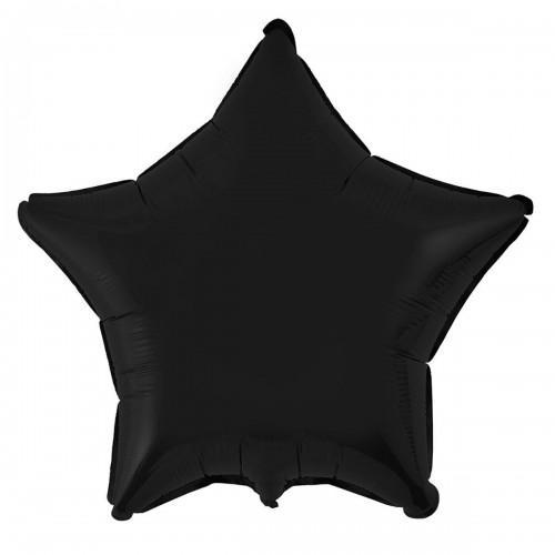 """18"""" (45см) фольгированный шар ЗВЕЗДА пастель черная (FM Испания)"""