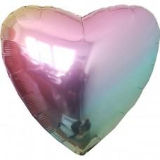 """18"""" (45см) фольгированное сердце омбре металлик жемчуг"""