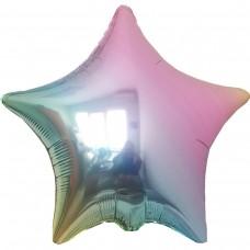 """18"""" (45см) фольгированный шар ЗВЕЗДА омбре металлик жемчуг (FM Испания)"""