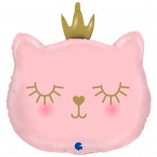 Большая фигура кошка с короной розовая в уп (Grabo Италия)