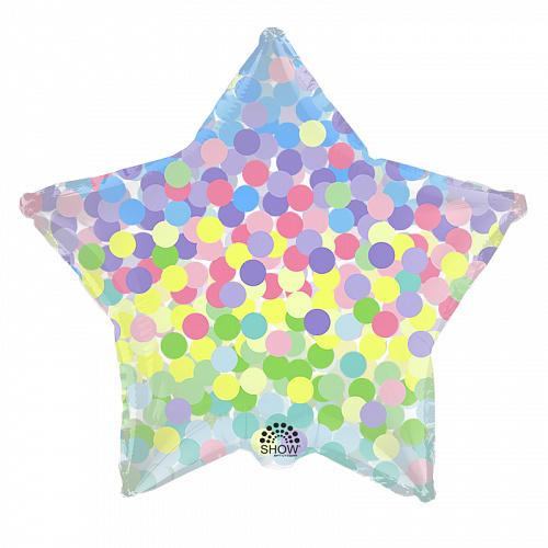 """SH 18"""" (45см) Звезда цветное конфетти"""