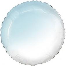 """18"""" (45см) шар фольгированный КРУГ омбре бело-голубой (FM)"""