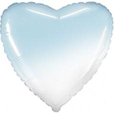 """18"""" (45см) шар фольгированный СЕРДЦЕ омбре бело-голубое (FM)"""