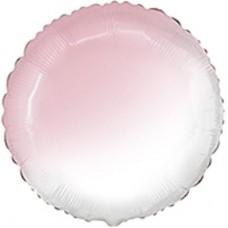 """18"""" (45см) шар фольгированный КРУГ омбре бело-розовый (FM)"""