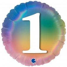 """18"""" (45см) Круг Цифра 1 (омбрэ радуга) Grabo Италия"""