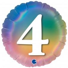 """18"""" (45см) Круг Цифра 4 (омбрэ радуга) Grabo Италия"""