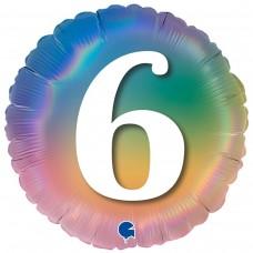 """18"""" (45см) Круг Цифра 6 (омбрэ радуга) Grabo Италия"""