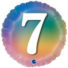 """18"""" (45см) Круг Цифра 7 (омбрэ радуга) Grabo Италия"""