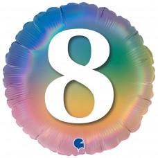 """18"""" (45см) Круг Цифра 8 (омбрэ радуга) Grabo Италия"""
