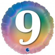 """18"""" (45см) Круг Цифра 9 (омбрэ радуга) Grabo Италия"""