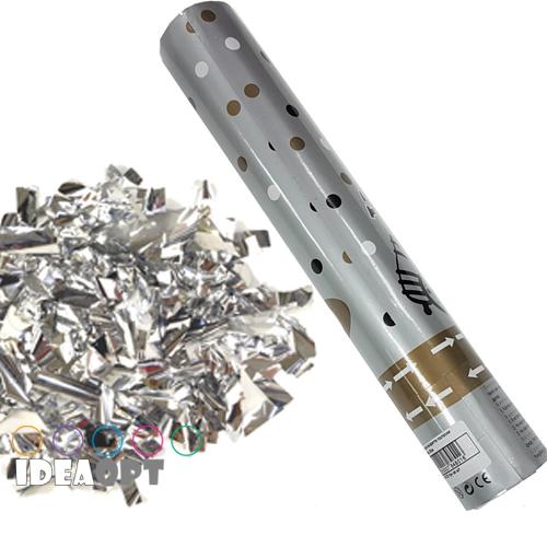 Хлопушка Полоски серебро 30 см