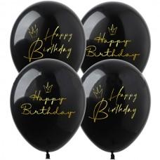 """12"""" (30см) Happy Birthday Короны на черном (25шт)"""