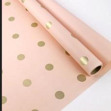 Калька двостороння рожева в золотий горох 0,6мх10м