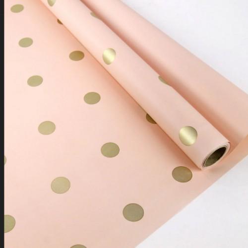 Калька двухсторонняя розовая в золотой горох 0,6мх10м