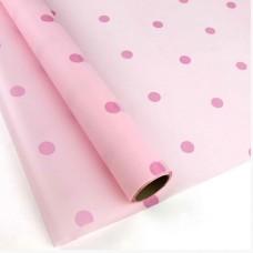 Калька матова рожева в горох 0,7х10м