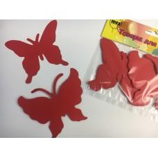 Бабочки картонные красные10см (10шт)