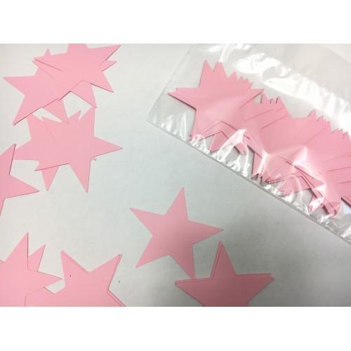 Звездочки картонные розовые 6см (28шт)