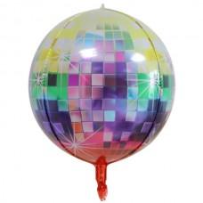Фольгированный шар 3D Диско цветной 28х56см (Китай)