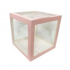 30х30см прозрачный бокс для шаров (розовые грани)