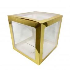 30х30см прозрачный бокс для шаров (золотые грани)