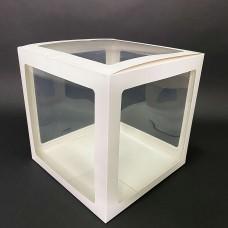 30х30см прозрачный бокс для шаров (белые грани)
