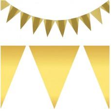 Гирлянда бумажная Флажки золото 2 м