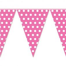 Гирлянда бумажная Флажки горох на розовом